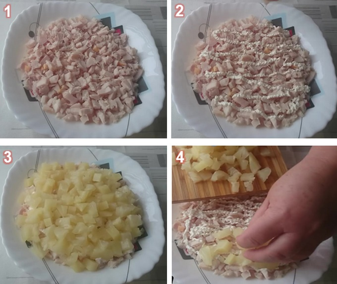 Измельчаем курицу и ананас